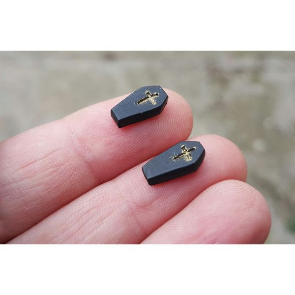 Stud earrings tiny coffin jewelry spooky polymer clay geekery hand... (22 PLN) ❤ liked on Polyvore featuring earrings