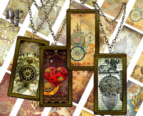 STEAMPUNK DOMINO 1x2 ech size images Digital by DreamUpGraphic
