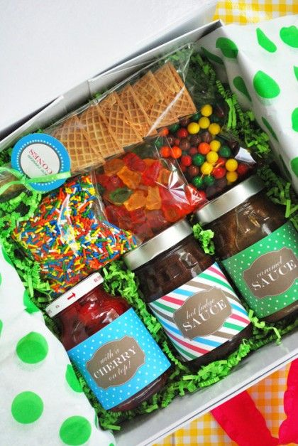 For the family with a household of kids — or the hostess with a major sweet tooth — bring a carton of ice cream and a box full of sundae toppings for dessert!  Image: The Party Dress