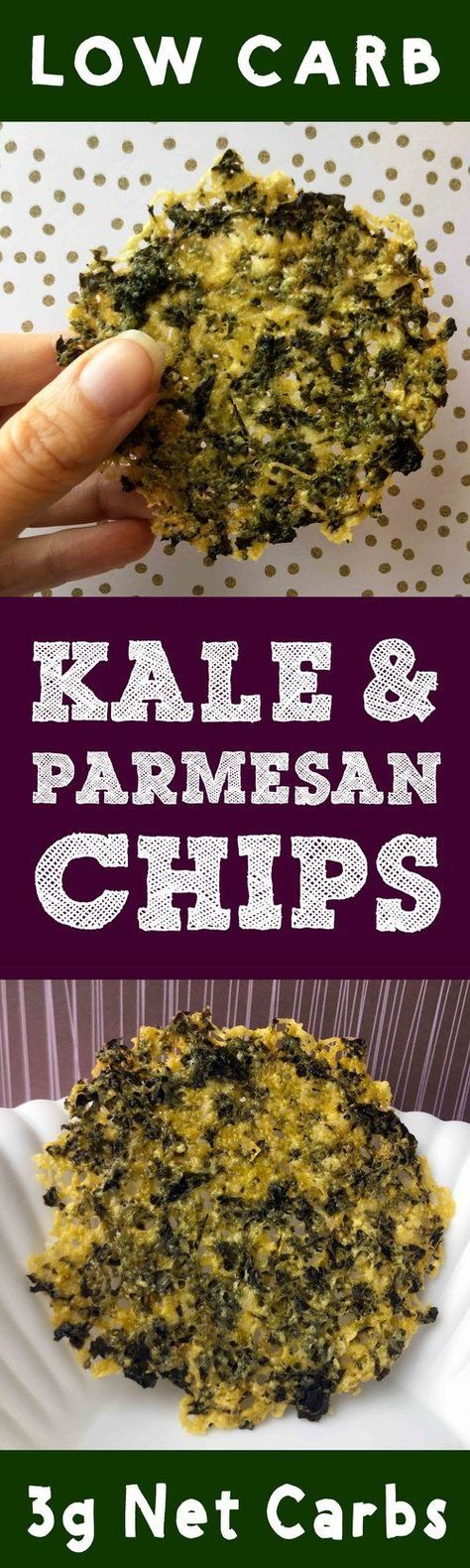 This recipe for Low Carb Kale and Parmesan Chips is Keto, Atkins, THM, Paleo, LCHF, Sugar Free and Gluten Free. It's the perfect kaley cheesy chip.