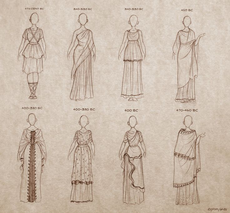 Illustrations of different clothing styles during different time periods in Ancient Greece. Original Source Unknown.