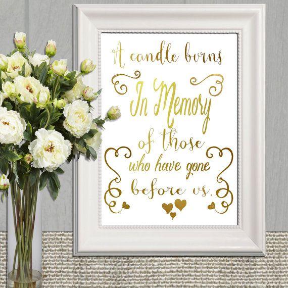 Wedding Memorial table Gold In memory of printable by DorindaArt