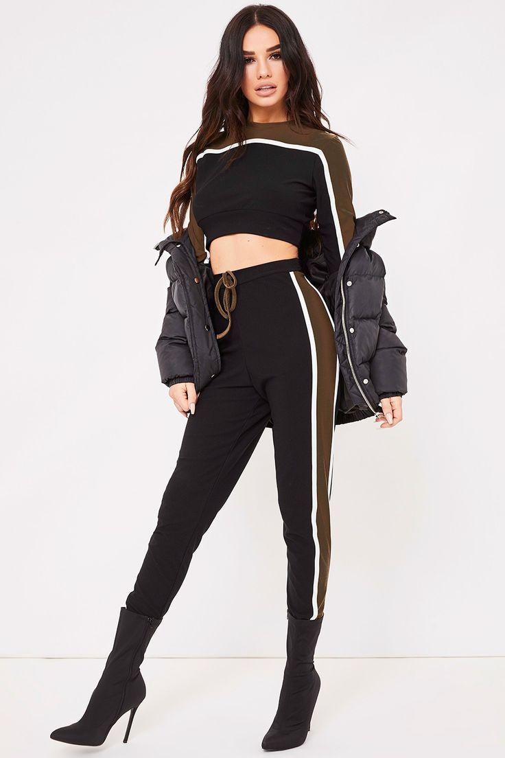 Minnie Black And Khaki Loungewear Set