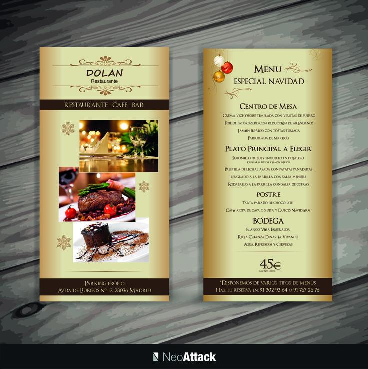 Diseño de flyers publicitarios navideños al restaurante Dolan. Realizado por NeoAttack
