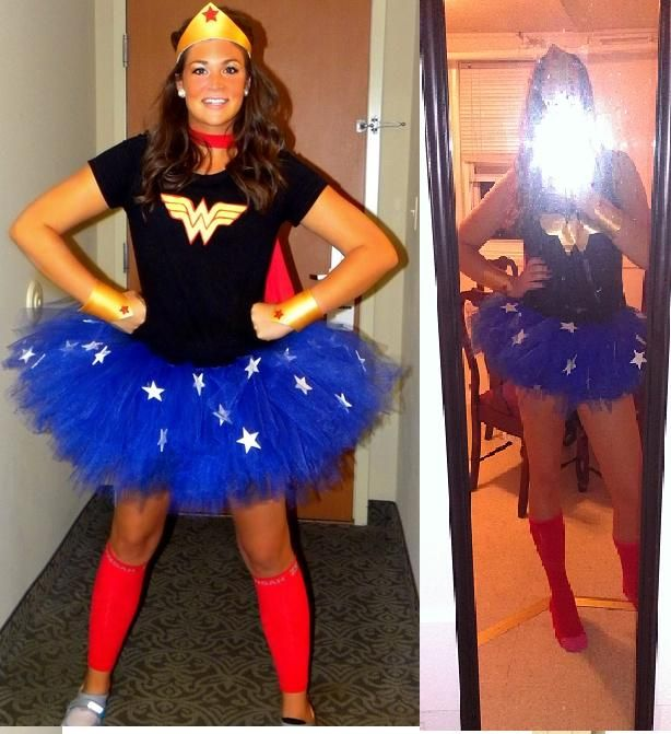 First Halloween costume! I love Wonderwoman so this was a perfect costume. The tutu was the best part and actually made a few for my friends. This tutu I used tulle ribbon and used about 4 spools so it was nice and poofy.