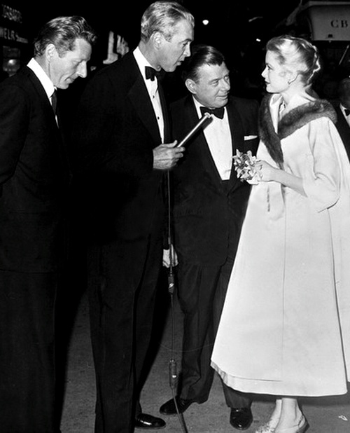 "Jimmy Stewart, Danny Kaye, Arthur Godfrey and Grace Kelly at the premiere of ""Strategic Air Command"""