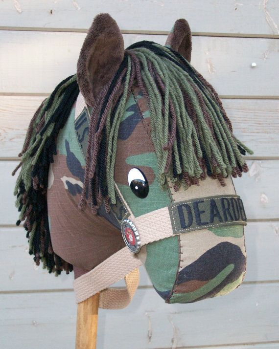 Military Soldier Stick Horse made to order from your uniform by RusticHorseShoe