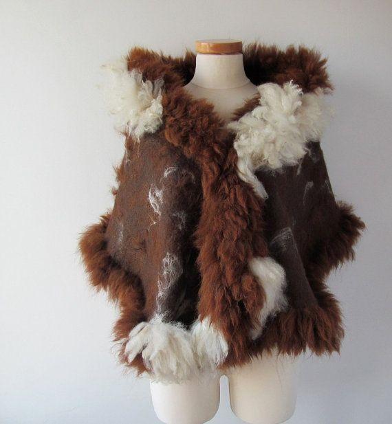Felted scarf alpaca fur  brown wrap shawl von galafilc auf Etsy, $149.00