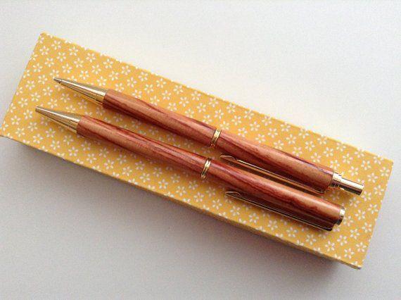 Real Wood Pen /& Pencil Set Click Pencil Hand Turned Twist Pen