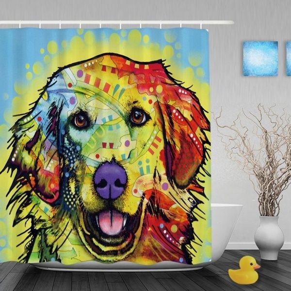 Golden Retriever Dog Blue Shade Shower Curtains Colorful Pop Art