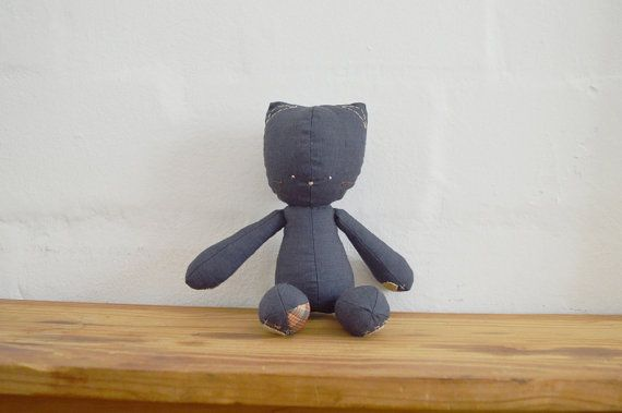 Floppie Kitten with cotton tail and paw detail. Handmade stuffed doll for sale on Etsy || by Vir Lief