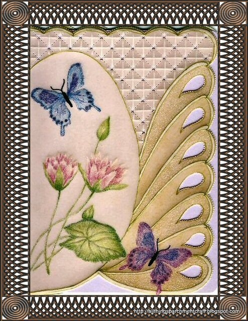 Handcrafted Parchment Craft Greeting Card by Vickie Densmore