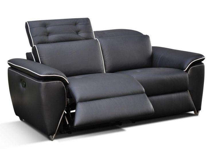 Relaxsofas 3-Sitzer Leder Cardinal - Schwarz günstig kaufen / Möbel Online-Shop Kauf-Unique.de