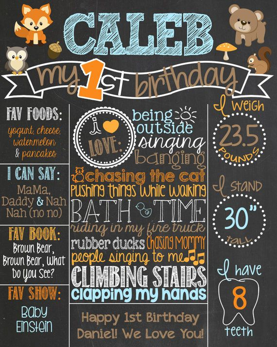 Forest Theme Birthday Chalkboard Poster // Fall Birthday // Woodland Animals by PersonalizedChalk, $37.00