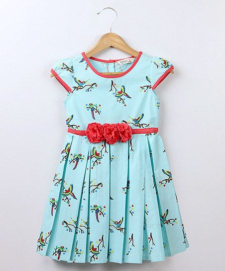 Blue & Red Parrot Pleated Dress - Girls