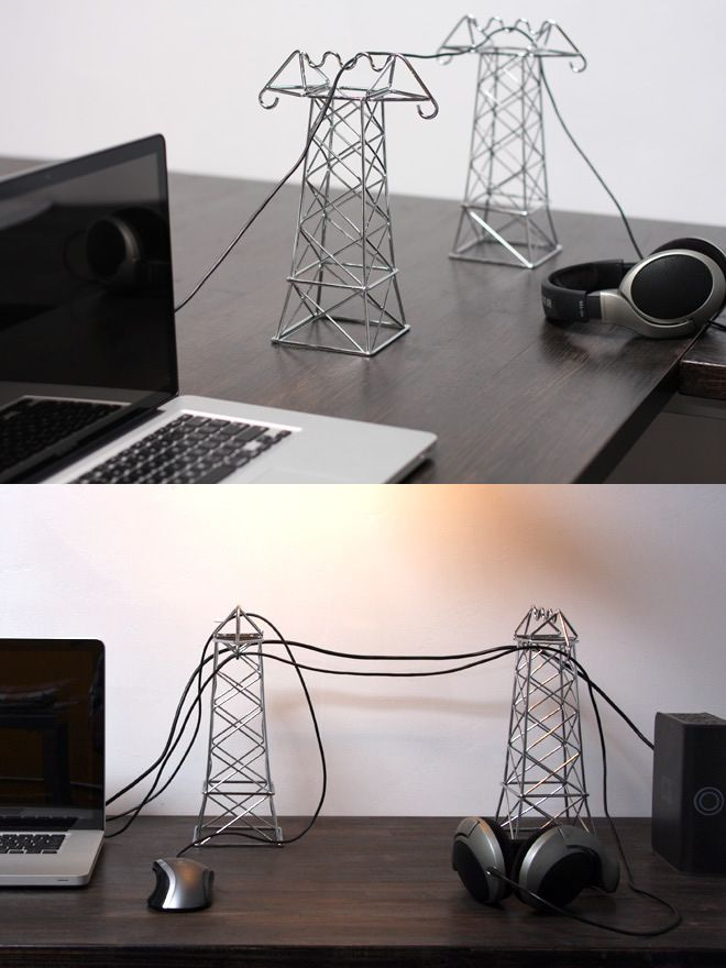 Wow! Great idea to transform your cables into power lines for miniature electrical towers