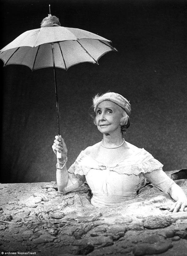 """Happy Days"" by Samuel Beckett   Mise en scène Roger Blin, avec Madeleine Renaud et jean-Louis Barrault (1963)   #photo"