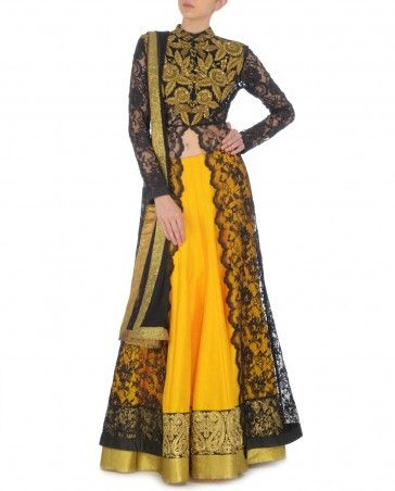 Black Long Kurta Set with Sunglow Yellow Lengha