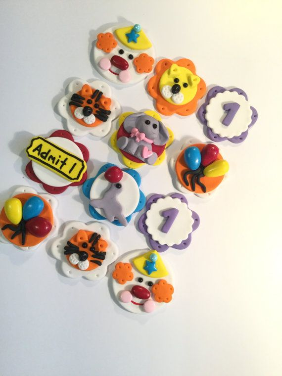 Check out Fondant Circus Cupcake Toppers (cake and cookies too!) Set of 12 (one dozen) on prettypartydetails