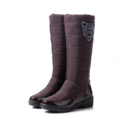 ASUMER 2016 Cotton fashion waterproof snow boots women's knee high boots flat winter boots platform fur shoes women size 34-44