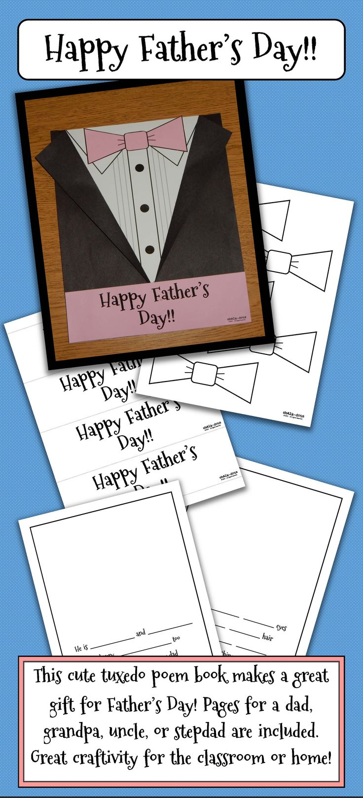 "This creative tuxedo poem book makes a perfect gift for Father's Day! It includes a cute, personalized eight-page poem with ""fill-in-the-blanks"" for the children. Dads will love reading what their kids write about them and seeing their drawings as well. All the blacklines for the tuxedo cover are included, as well as poem pages for a stepdad, a grandpa, and an uncle. Please visit my store to see my matching Mother's Day poem book!"
