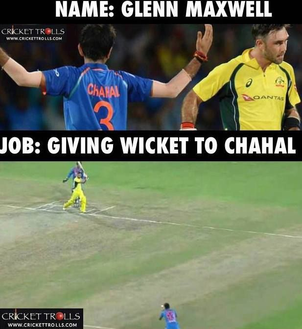 Glenn Maxwell becomes Yuzvendra Chahal's victim for the 4th time on the current India tour #INDvAUS #INDvsAUS - http://ift.tt/1ZZ3e4d