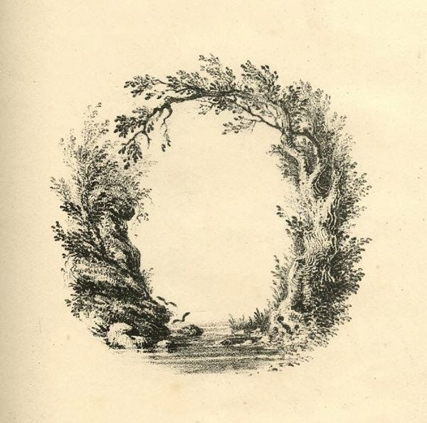 A Mid-19th C Landscape Alphabet. 200 years ago, British artist L.E.M. Jones created a beautiful font inspired by nature which he called 'The Landscape Alphabet'  printed by Charles Joseph Hullmandel. Letter O: a river as bottom part of the oval, sided by a rock on the left and a tree on the right, its branches growing to the left forming the upper outline of the oval.