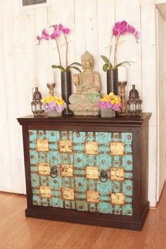 Indian Cabinet made out of Antique Doors - asian - bar carts - los angeles - Keyla Torres