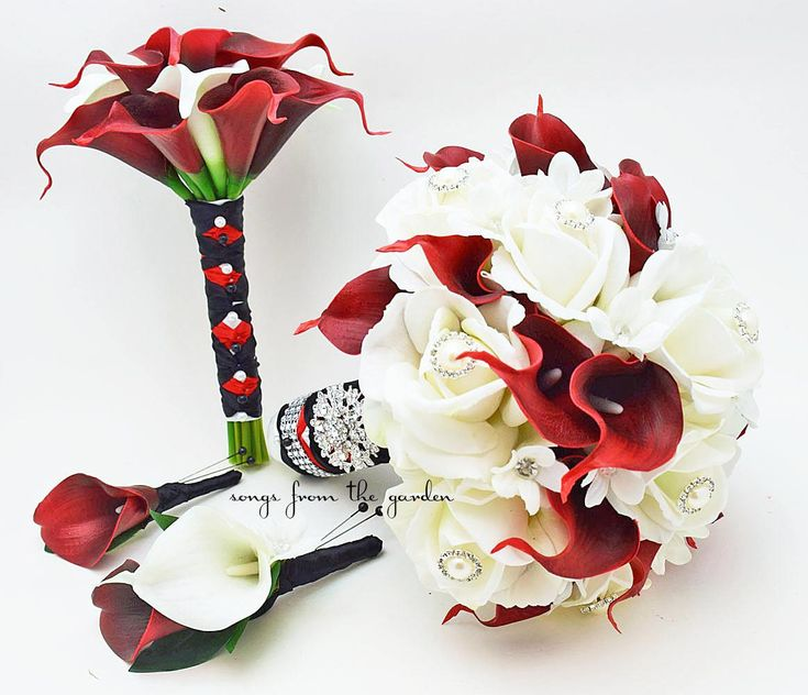 Bridal Bouquet Stephanotis Roses Calla Lily Red Black White Bridesmaid Bouquet Calla Lilies Groom Groomsman Boutonniere Bridesmaid Bouquet by SongsFromTheGarden on Etsy