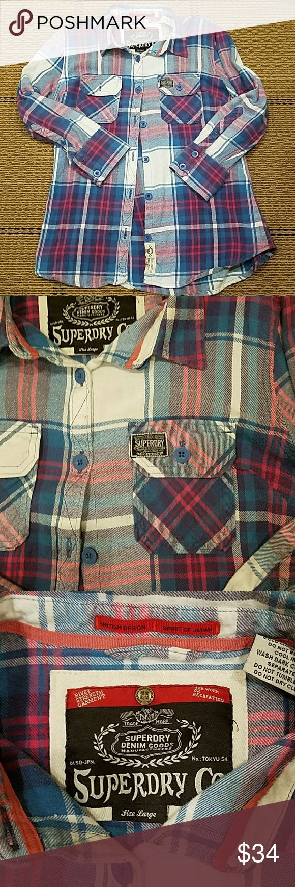 Superdry long sleeve button down shirt Blue and pink long sleeve button down shirt.  By Superdry. In EUC. Medium weight. Superdry Tops Button Down Shirts