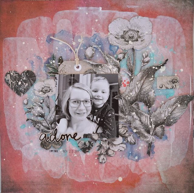 Sara Kronqvist - Saras pysselblogg: Adore | Scrapbook layout with lots of fussy cutting