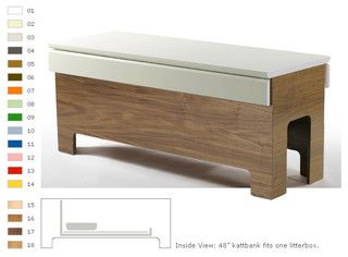 Kattbank 48 Lacquer Veneer, $2,200 - Hides the kitty litter box on a shelf inside. I'd rather build this myself than buy it--and I'd change the design a bit. It's a good idea though.