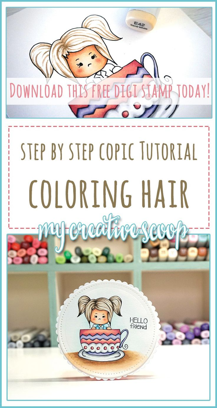 How to Color Hair using Copic Markers + FREE Digi Stamp