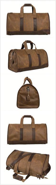 Super Large Leather Overnight Bag Duffle Bag Laptop Weekend Bag Men's Travel Bag