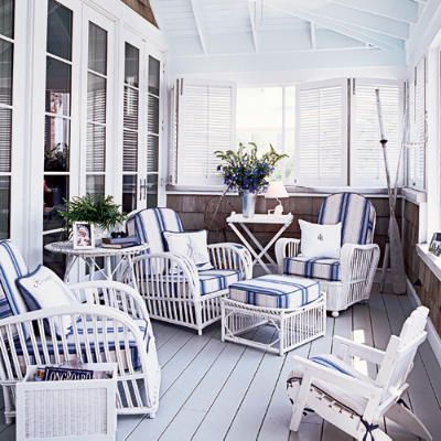 Blue & White  Classic combo that never goes out of style.  Would look perfect for a nautical style.  Coastal Living