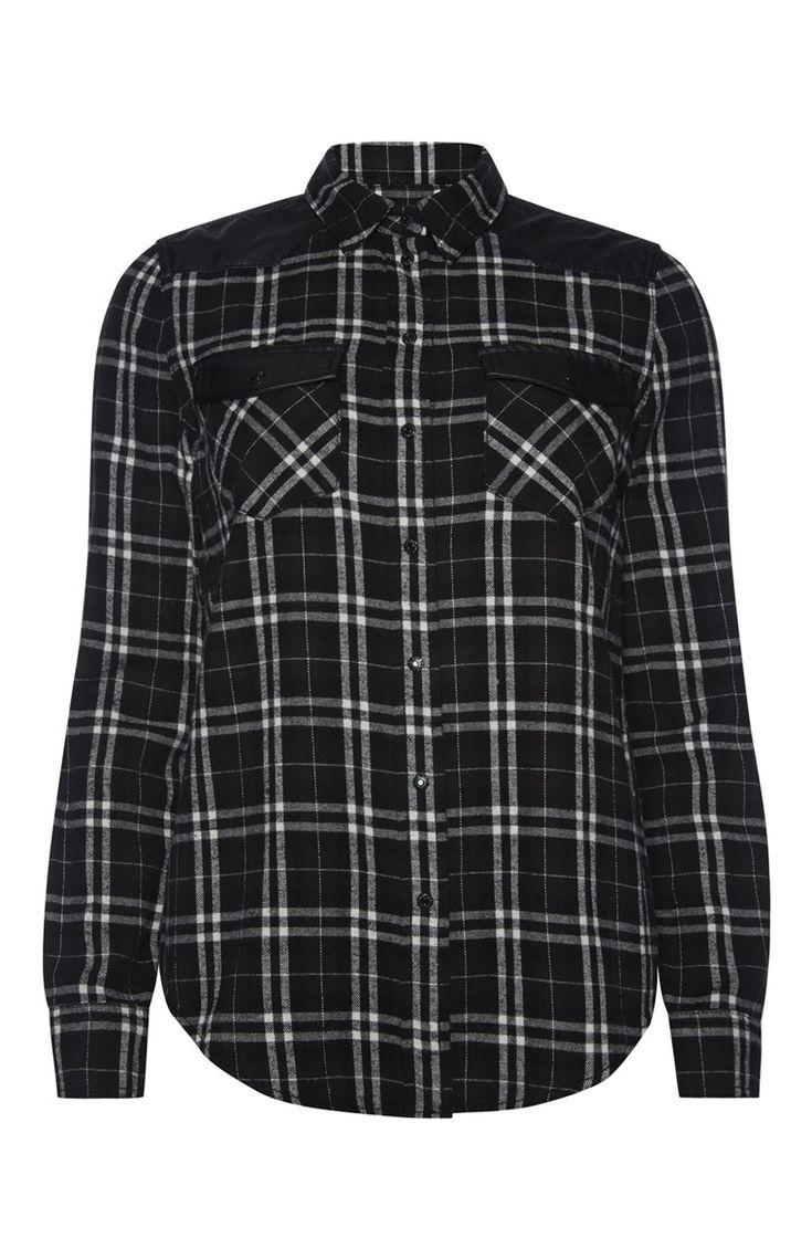 Primark - Schwarz kariertes Hemd mit PU-Details (15€) - temno zelena karirasta srajca