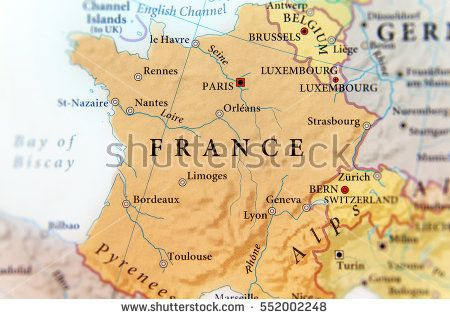 Geographic map of European country France with important cities
