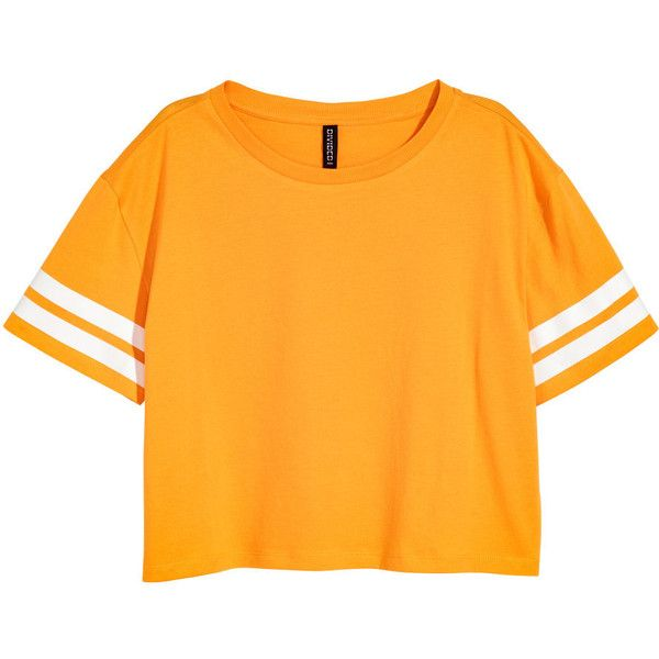 Cropped T-shirt 49 AED ❤ liked on Polyvore featuring tops, t-shirts, pattern tees, print tees, orange crop top, patterned tops and crop tee