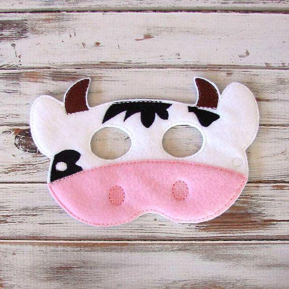 Máscara de vaca - Fieltro - Máscara Niños, Juego de vestir, vestuario, Halloween - Granja de Animales, Juegos de imaginación