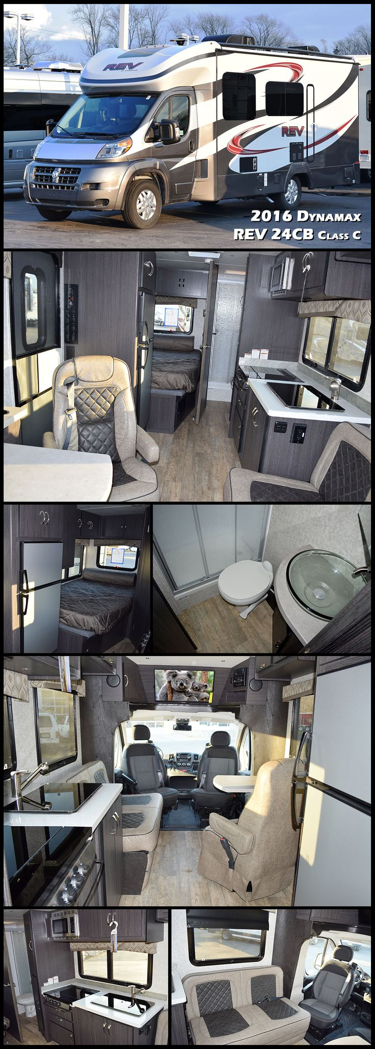 2016 Dynamax REV 24CB Class C. The fuel-efficient REV is engineered for the upwardly mobile and built to last with some of the most luxurious appointments in its class. By pairing a lightweight, contemporary living space with the comfort of Dodge's ProMaster® chassis, the REV is the perfect vehicle to get around and get away.