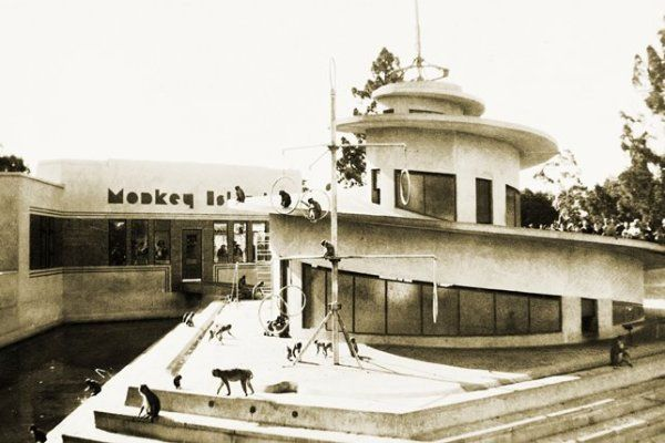 Monkey Island Melbourne Zoo built 1938, image c1940. Later seal pool, with middle section removed, then dem 1990s. from abc.net