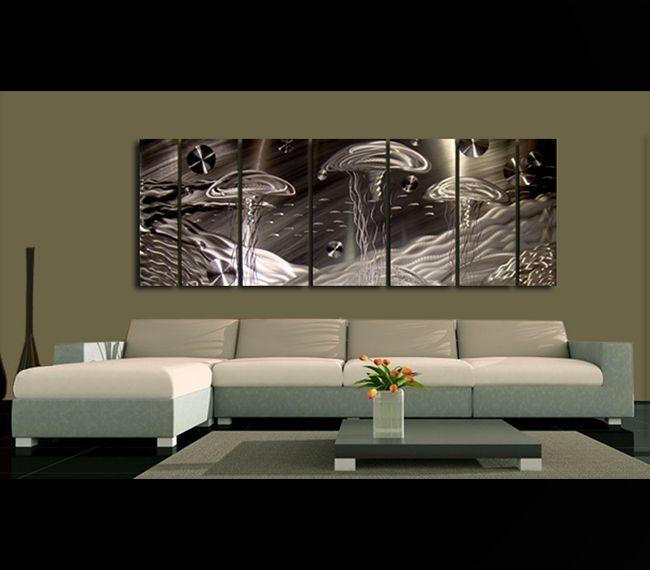 Life aquatic modern abstract silver seacape metal wall art decor by jon allen contemporary