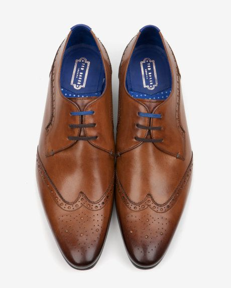 Leather wingtip derby brogues - Tan | Shoes | Ted Baker