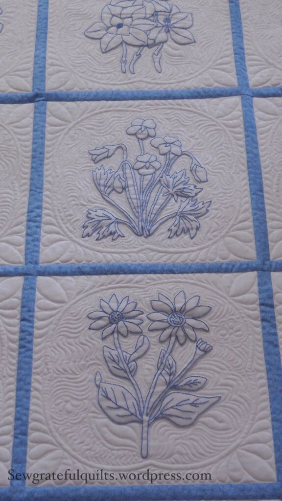 Quilting Idea for Redwork or Bluework Embroidered Quilts