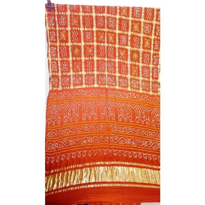 Orange Gajji silk Gharchola saree