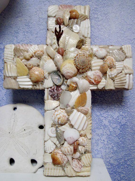 Handcrafted Mosaic Seashell Shell Cross by SmithMosaics on Etsy, $48.00