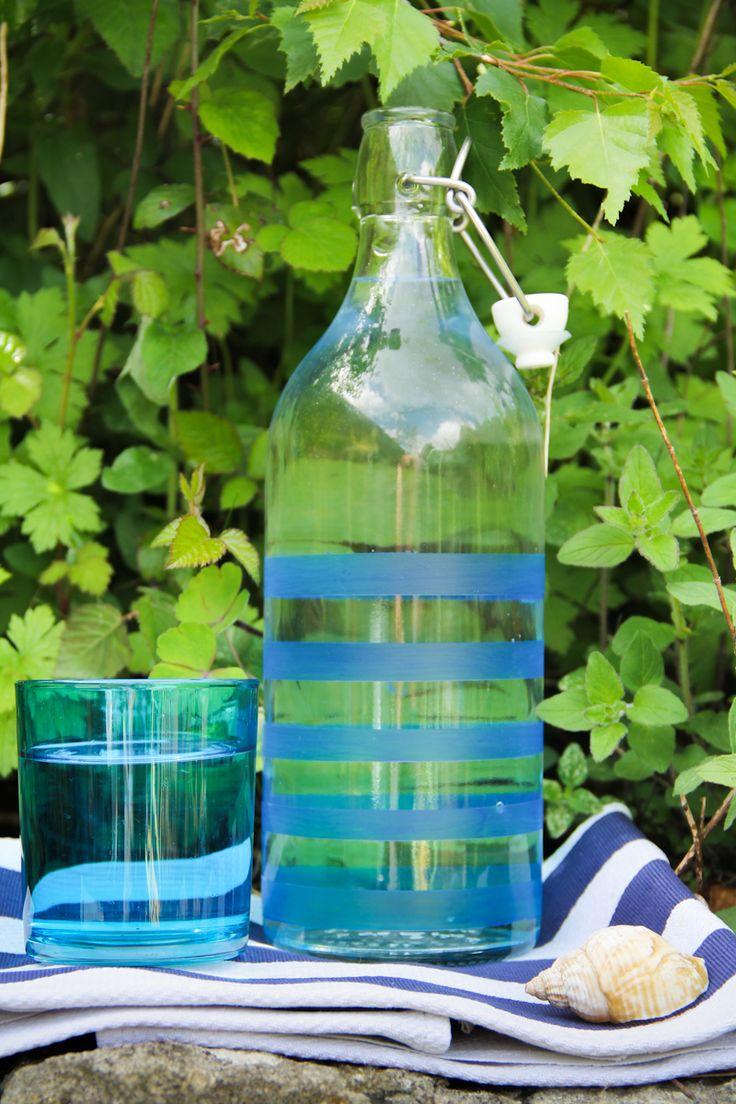 Customisez vos bouteilles de verre avec la peinture vitrail #Pébéo WBZH_diybouteillemariniere05