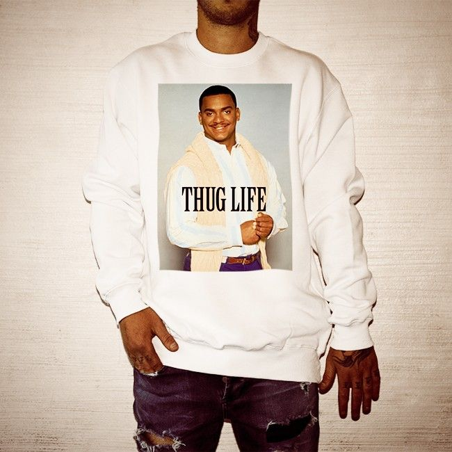 Buy Carlton Thug Life White Crew online today at Uncle Reco's Online Store.