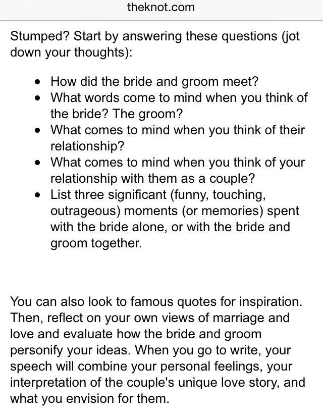 Maid Of Honor Speech Wedding