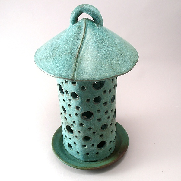 Green Garden Lantern By Cheryl Wolff (Ceramic Candleholder